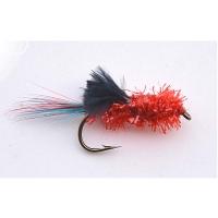 Streamer- rød/sort flue str. 4 - 5 stk!